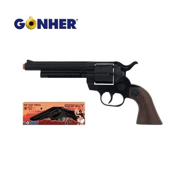 Gonher Cowboy Cavalry Lawman Style 12-shot Cap Gun Revolver - Black & Faux Wood Grips