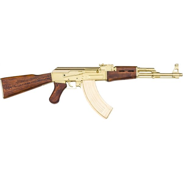 GOLD AK-47 Russian Assault Rifle With Real Wooden Stock Non-Firing Gun