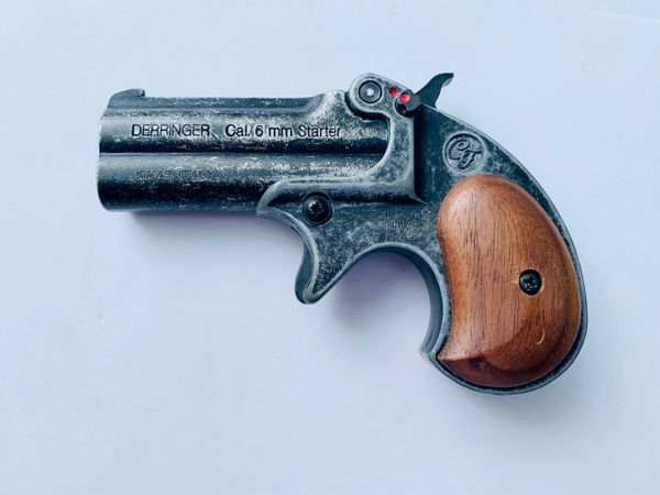 Old West Replica .22 Caliber Blank Firing Double Barrel Derringer Antique Finish with wood grip