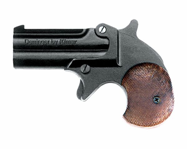Old West Replica .22 Caliber Blank Firing Double Barrel Derringer Black/Blued Finish with wood grip