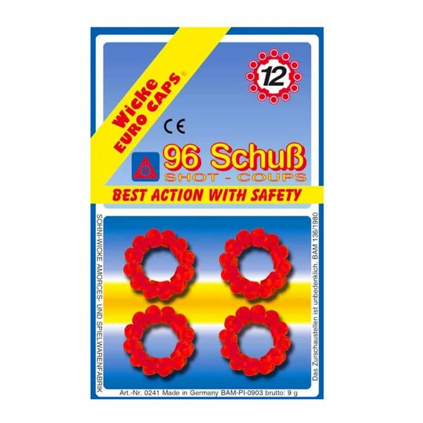 5-pk 12-Shot Ring Caps for Gonher Cap Guns *Backorder Expected 3/2021