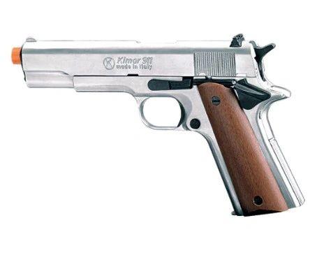 KIMAR M1911 Polish Nickel .45 Govt Auto 9mm Blank FRONT Firing Pistol