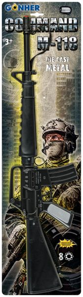 Gonher Toys US M-16 Style 8 Shot Cap Gun Rifle - Black Finish