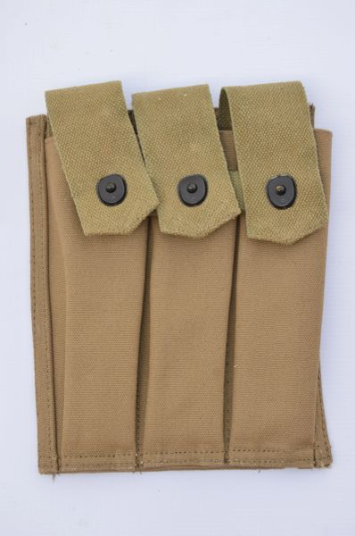 WWII US Army Thompson / M3 Grease Gun 3- Pocket 30 Round Magazine Carrier Reproduction