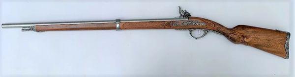 Colonial Replica 1807 Antique Silver OR Brass Trim French Flintlock Rifle Non-Firing Gun