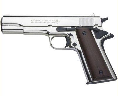 M1911 Polish Nickel .45 Govt Auto 8mm Blank Top Vent Firing Pistol