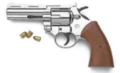 9mm Nickel or Blued Finish Magnum Blank Firing Revolver by Bruni