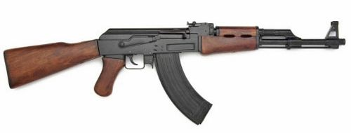 AK-47 Russian Assault Rifle With Real Wooden Stock Non-Firing Gun