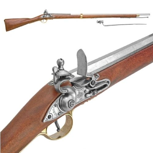 Colonial Brown Bess Replica Rifle With Bayonet Non-Firing Gun