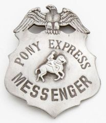 Deluxe Pony Express Messenger Badge by Denix - Antique Silver Finish