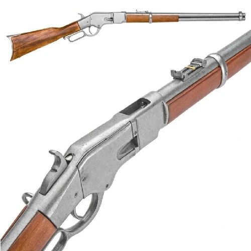 Old West Denix Replica 1866 Lever Action Western Rifle, Antique Gray