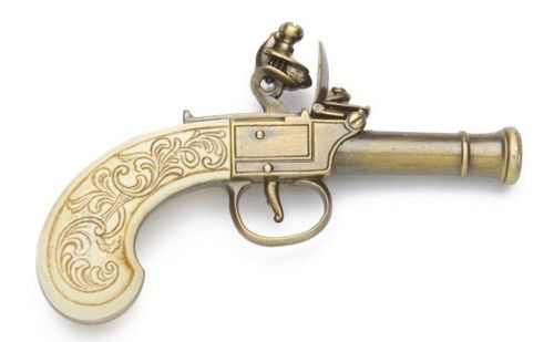 Replica Colonial Gold Finish Ladies Muff Flintlock Pistol Non-Firing Gun