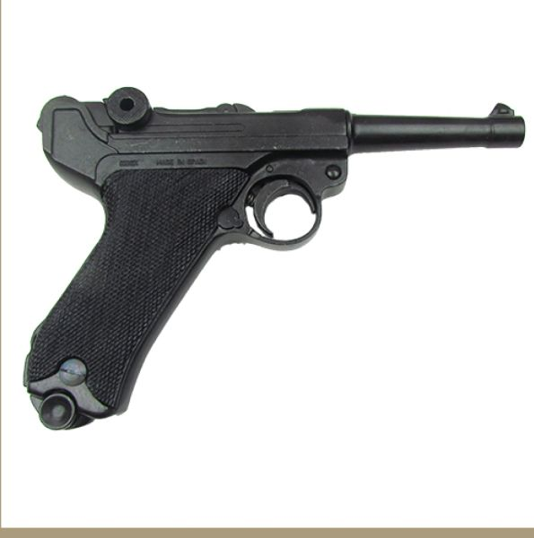 German Luger Parabellum P-08 WWI - WWII Black Grips Non-Firing Replica