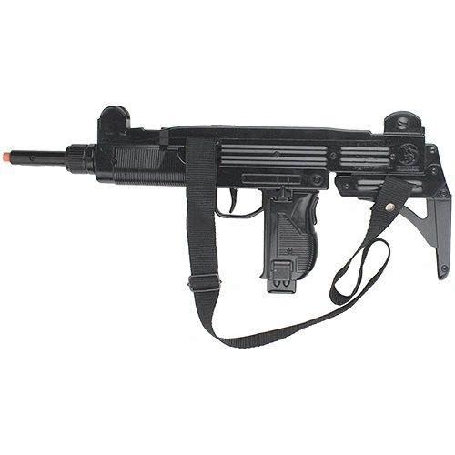 Gonher Replica Israeli Uzi Style 12 Caps Submachine Gun - Black Finish with Sling