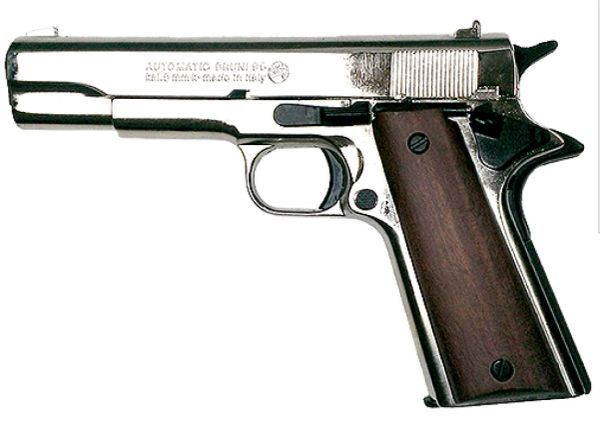 Walking Dead Glenn M1911 Polish Nickel .45 Govt Auto Blank Firing Pistol