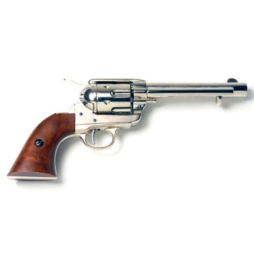 Old West Frontier Denix Replica Nickle Finish Revolver with Wood Grips