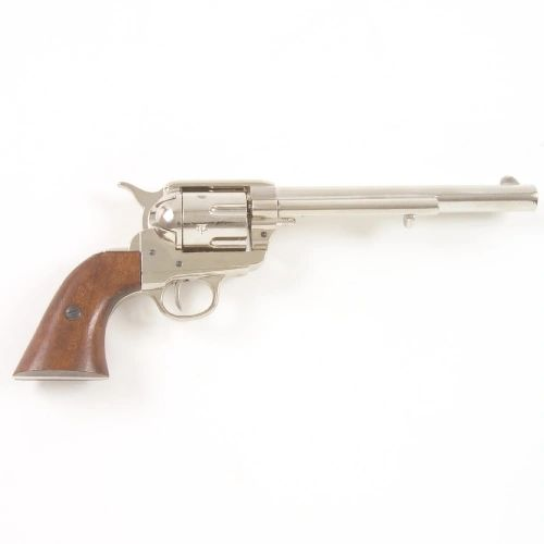 Old West 1873 Nickel Finish Cavalry Barrel Replica Revolver