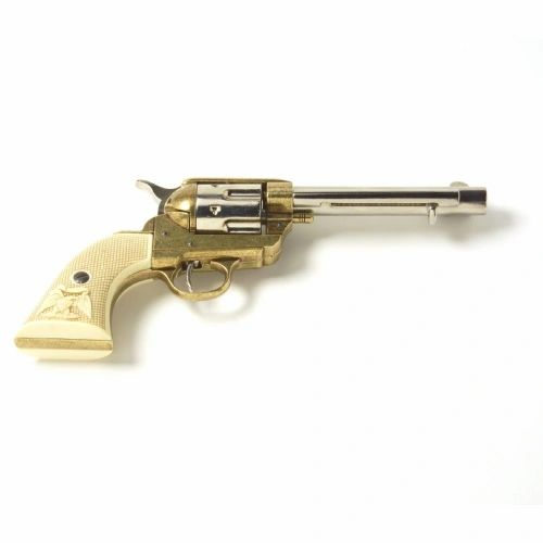 Old West 1873 Frontier Barrel Dual Tone Finish Replica Revolver Realistic Caps Firing Gun