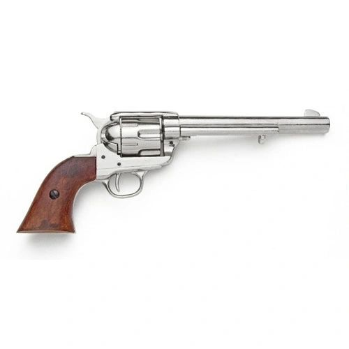 Old West Replica 1873 Nickel Finish Cavalry Single Action Revolver Non-Firing Gun