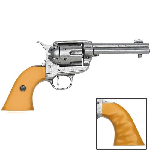 Old West Replica 1873 Antique Finish Quick Draw Revolver, Auburn Finger Grooved Grips Caps Firing Replica