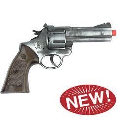 Police Style 12 Shot Cap Revolver - Antique Silver