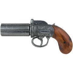 1840 British Pepperbox Revolver - Antique Grey