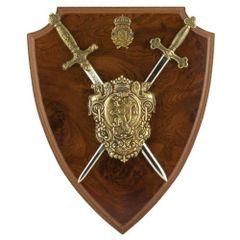 Napoleonic Shield & 2 Miniature Desktop Letter Openers Swords