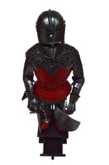 "Handcrafted 18"" Medieval Knight In Full Plate Armor with Pig Faced Bascinet, Mail Coil and Sword Statue (Circa. 1425)"