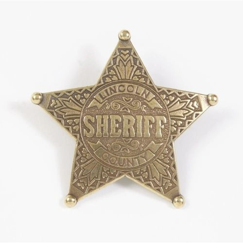 Old West Lincoln County Sheriff's 5-Point Ball Badge by Denix - Antique Brass Finish