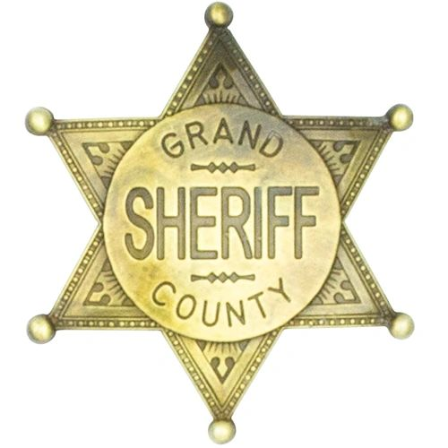 Old West Denix Replica Grand County Sheriff Badge – Antiqued Brass Or Nickle Finish
