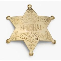 Old West Denix Replica Marshall 6 Point Ball Badge – Antiqued Brass Finish