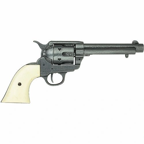 """Old West 1873 Frontier Replica Antique Finish with Faux Ivory Grips 5.5"""" Barrel Revolver Non-Firing Gun"""