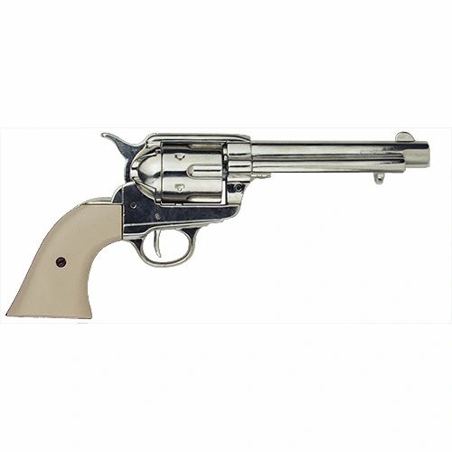 Old West Denix Replica 1873 Western Frontier Nickel Finish, Ivory Grips Revolver Non-Firing Gun