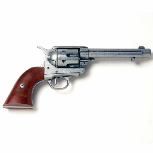 Old West Denix Replica 1873 Western Frontier Anqitue Grey Finish, Wood Grip Revolver Non-Firing Gun
