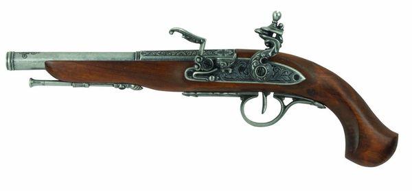 Colonial Replica English Percussion in Antique Grey Dueling Pistol Non-Firing Replica