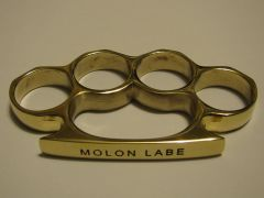 MOLON LABE Engraved/Polished Brass Knuckles Paperweight