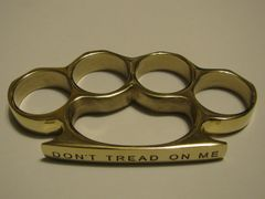 DON'T TREAD ON ME Engraved/Polished Brass Knuckles Paperweight