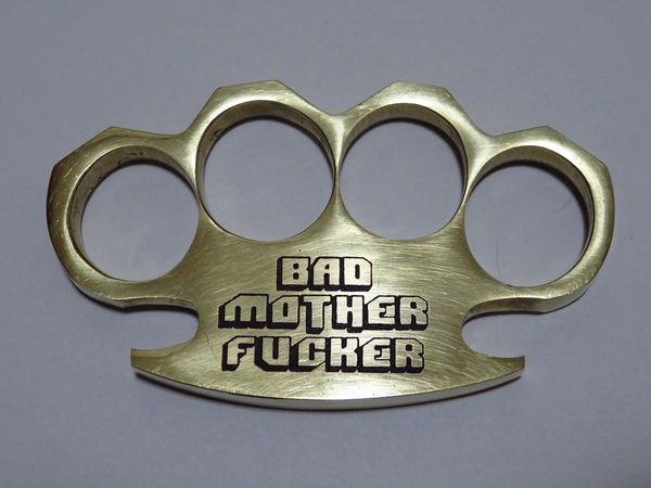 BAD MOTHERFUCKER Logo Engraved Real Deal Solid Brass Knuckles