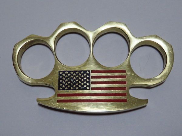 AMERICAN FLAG Logo Engraved Real Deal Solid Brass Knuckles