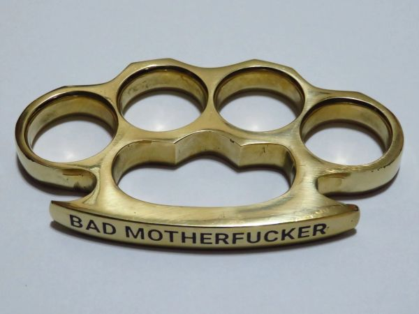 BAD MOTHERFUCKER Engraved Real Deal Solid Brass Knuckles - XL