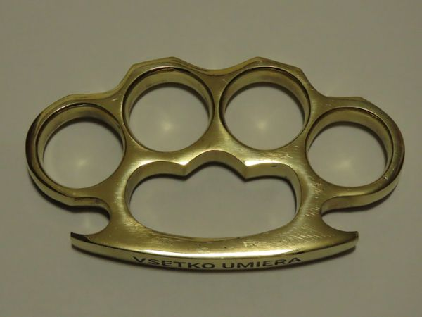 VSETKO UMIERA Engraved Real Deal Solid Brass Knuckles - XL