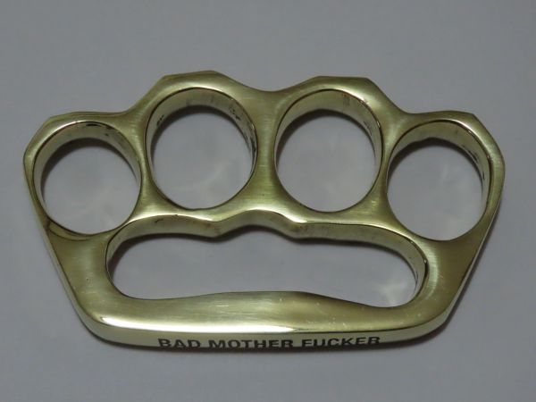 **Blemished** BAD MOTHERFUCKER Engraved Old School Series Solid Brass Knuckles - Style 4