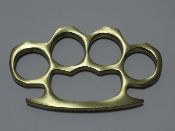**BLEMISHED** VSETKO UMIERA Engraved Real Deal Solid Brass Knuckles - XL