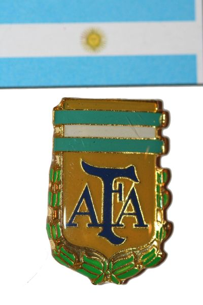 """ARGENTINA - FIFA WORLD CUP SOCCER AFA LOGO LAPEL PIN BADGE .. SIZE : 3/4"""" X 1"""" INCHES .. NEW"""