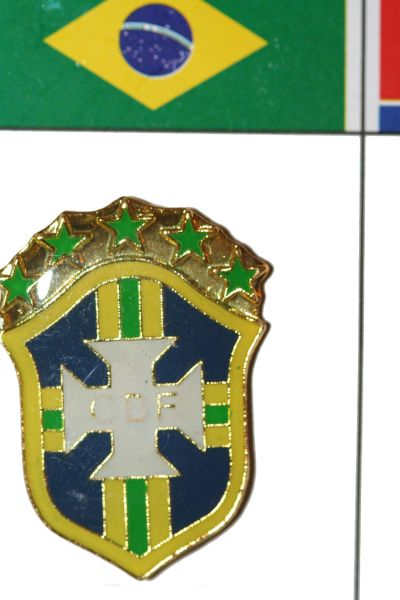 "BRASIL - FIFA WORLD CUP SOCCER CBF LOGO LAPEL PIN BADGE .. SIZE : 7/8"" X 1"" INCHES .. NEW"
