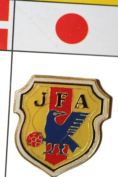 "JAPAN - FIFA WORLD CUP SOCCER LOGO LAPEL PIN BADGE .. SIZE : 1"" X 1 1/8"" INCHES .. NEW"