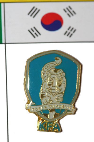 "KOREA SOUTH - FIFA WORLD CUP SOCCER LOGO LAPEL PIN BADGE .. SIZE : 3/4"" X 1"" INCHES .. NEW"