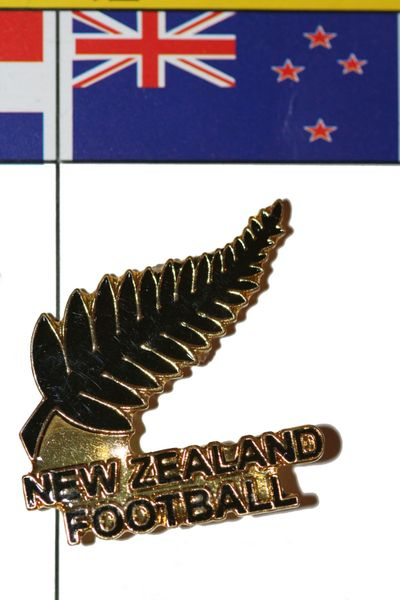 """NEW ZEALAND - FIFA WORLD CUP SOCCER LOGO LAPEL PIN BADGE .. SIZE : 1 1/8"""" X 1 1/8"""" INCHES .. NEW"""