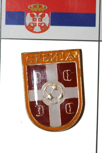 """SERBIA - FIFA WORLD CUP SOCCER LOGO LAPEL PIN BADGE .. SIZE : 3/4"""" X 1"""" INCHES .. NEW"""