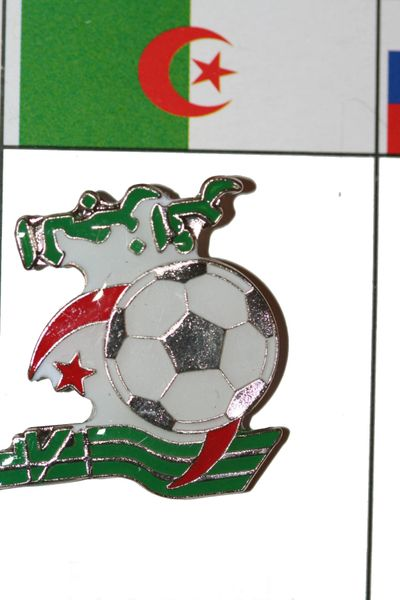 "ALGERIA - FIFA WORLD CUP SOCCER LOGO LAPEL PIN BADGE .. SIZE : 1 1/8"" X 1 1/8"" INCHES .. NEW"